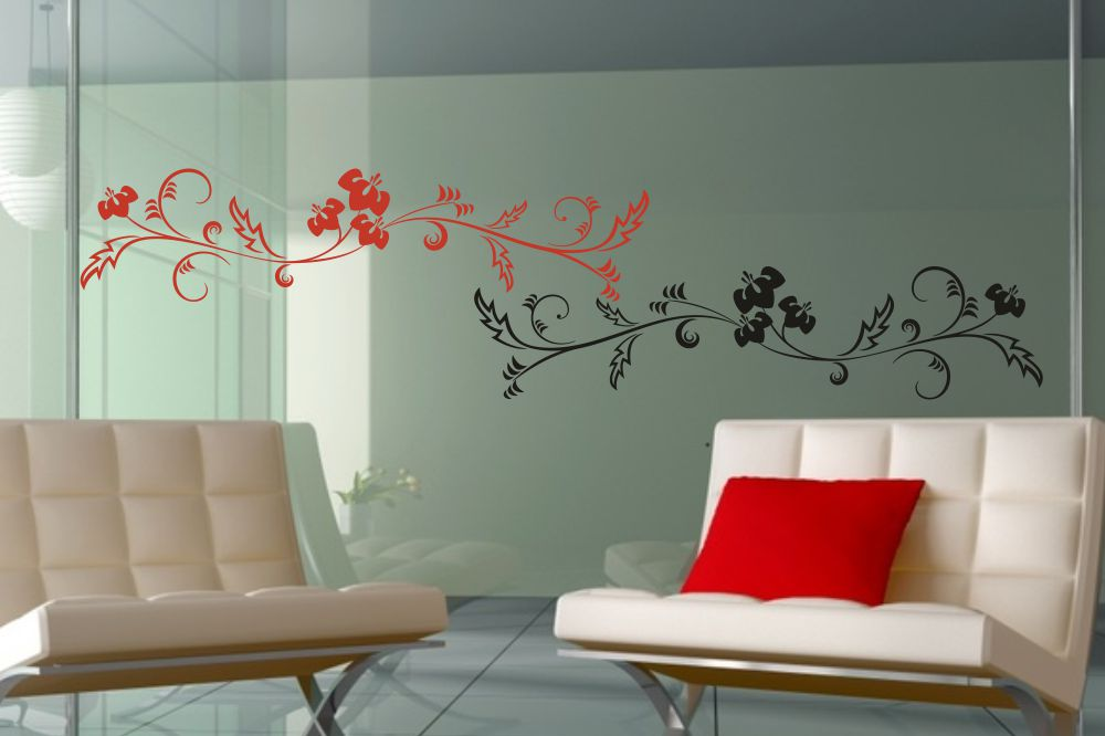 wandtattoo ranke mit bl ten 2 farbig. Black Bedroom Furniture Sets. Home Design Ideas
