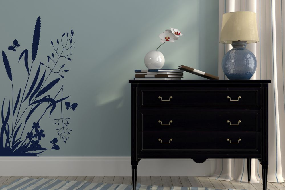 wandtattoos und wandschablonen mit pflanzen motiven von b ume und blumen. Black Bedroom Furniture Sets. Home Design Ideas