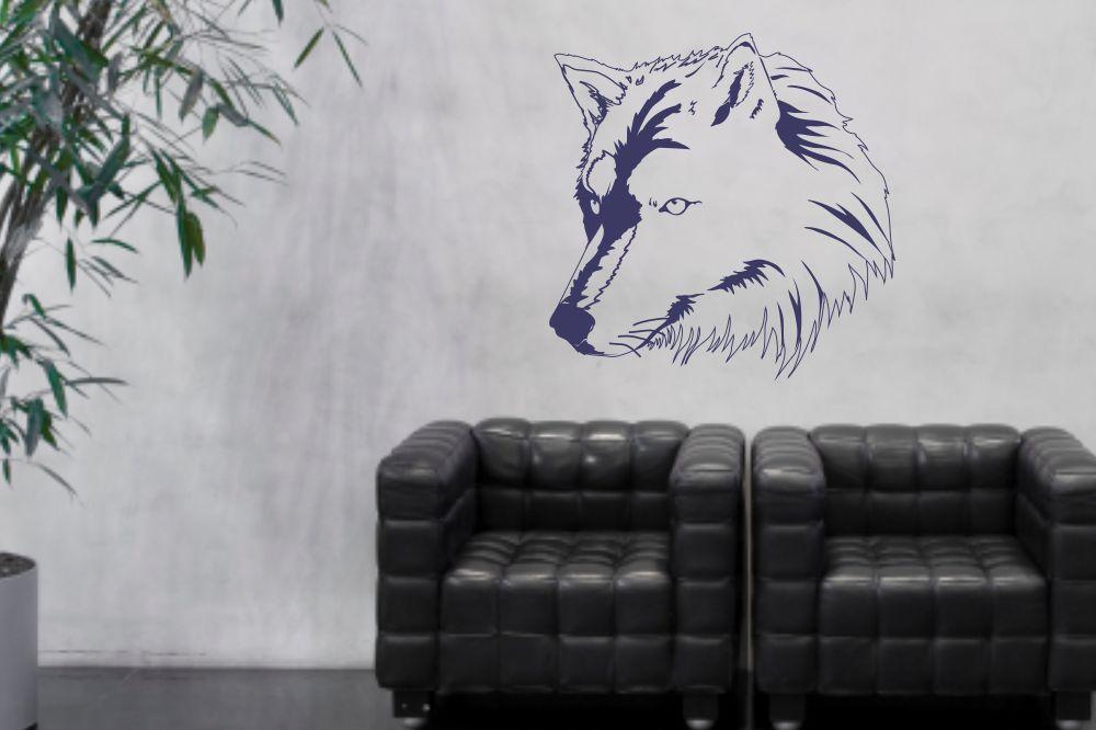 wandtattoo wolfskopf. Black Bedroom Furniture Sets. Home Design Ideas