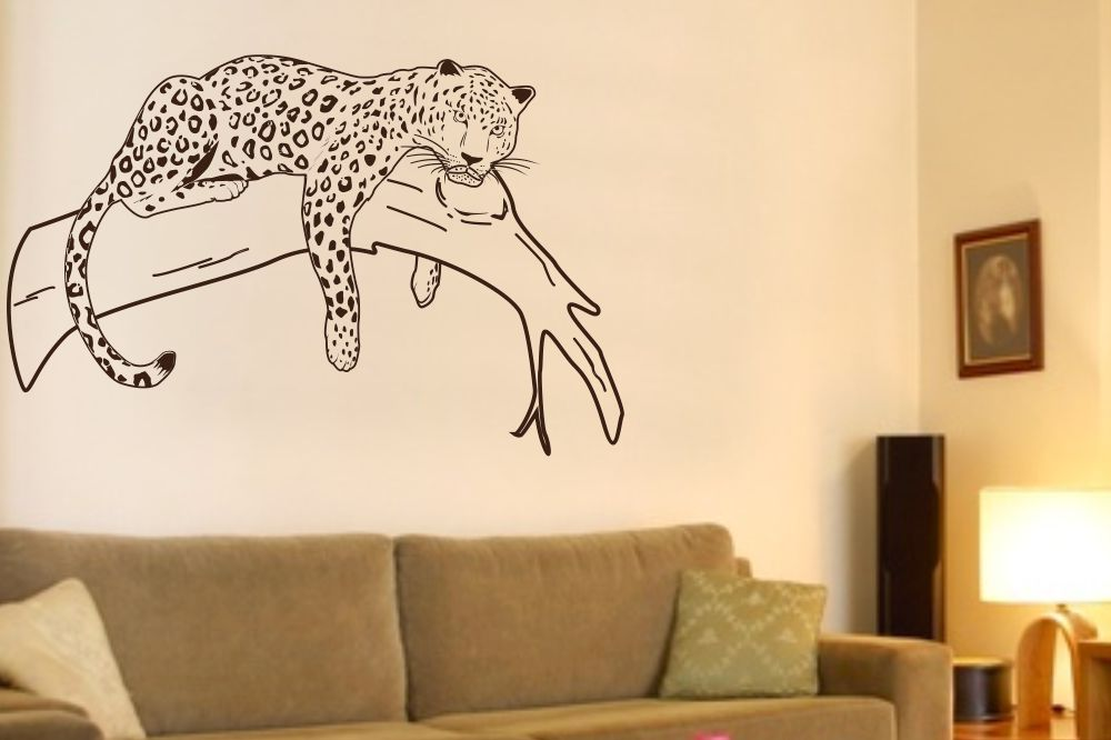 wandtattoo leopard auf ast. Black Bedroom Furniture Sets. Home Design Ideas